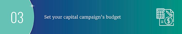 Set your capital campaign plan budget.