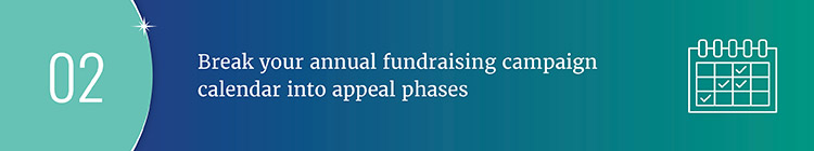 Break your annual fundraising campaign calendar into appeal phases.