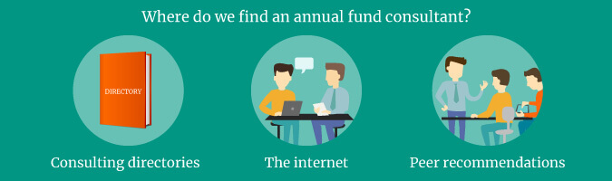 Use consultant directories, peer recommendations, and the internet to find the right annual fund consultant for you.